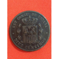 Moneda España Cobre 1878 Diez Céntimos Spain Coin Copper