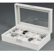 Fino Y Elegante Estuche / Alhajero De Piel Para 12 Relojes
