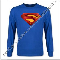 Playera Superman Returns Manga Larga Azul Rey Zbix