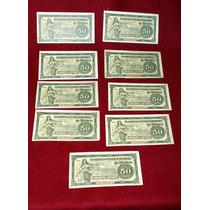9 Billetes De 50ç Gobierno Convencionista De México 1915
