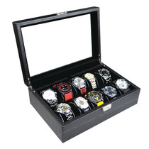Estuche Para 10 Relojes Imitación Fibra De Carbono