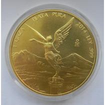 Moneda Mexico 2014 Onza Troy Plata Chapa De Oro 22 Kts