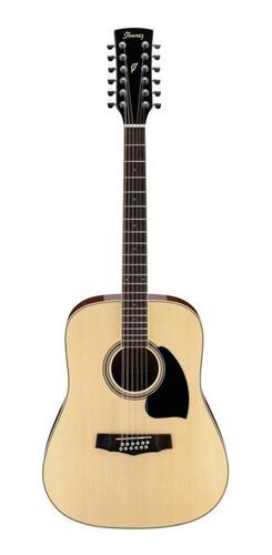 Guitarra Acústica Ibanez Pf Pf1512 Abeto  Natural High Gloss