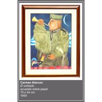 Carmen Alarcon El Soldado Acuarela Sobre Papel 75x54cm 1993
