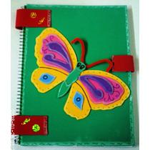 Libreta Decorada Con Foamy Tamaño Profesional (mariposa)