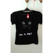 Playera T Shirt Para Dama Estampado Gotico Dark Gato Negra