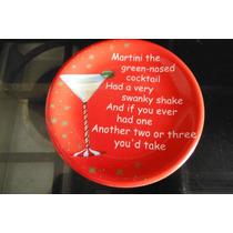 Plato Martini Cocktail Red Christmas Navidad Rojo