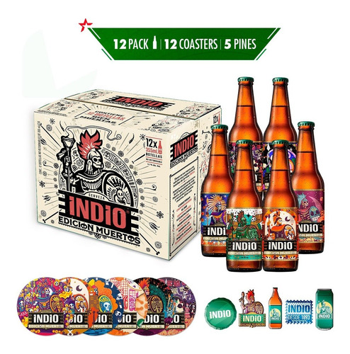 Cerveza Indio Kit Edición Muertos 1x12 Botella 355 Ml
