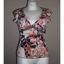 Timing Usa!! Blusa Color Chedrón Con Negro, Flores, Talla M