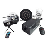 Kit Fiesta 4 Pack Luz Laser Camara De Humo Esfera Y Liquido