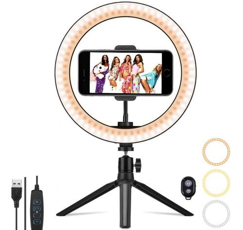 Luz Aro Led 26cm Anillo Regulable Selfie Trípode Con Remote