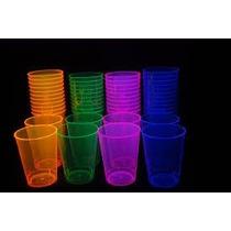 150 Vasos Plastico Neon Fiesta Boda Antro Luz Negra Cervevez