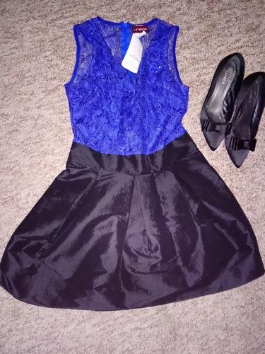 30dfe1b7 Vestido De Fiesta Color Negro Satin Con Azul Rey Lentejuela