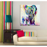 Cuadro Elefantes Acuarela Abstracto Color Lienzo Canvas Opción De Enmarcado Estilo Galeria