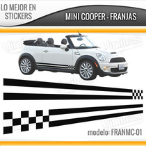Sticker Vinil Franja Mini Cooper Cofre, Laterales Calcomania