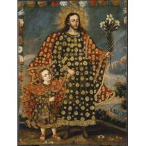 Lienzo Tela San José Y El Niño Dios Arte Sacro 50 X 70 Cm