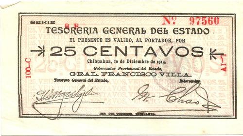 Billete De 25 Cvs Sabana De Villa 1915