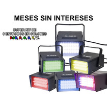 Steelpro Super Kit De 6 Potentes Estrobos Rgb De 24 Leds.
