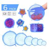 Tapas Elásticas De Silicona Azul, 6 Piezas