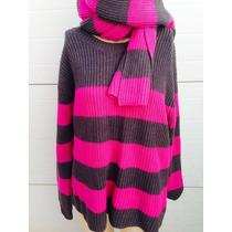 Sueter Tejido Gris/rosa Con Bufanda Talla M Qmark Moda 0086