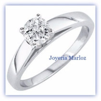 Anillo Compromiso Blanco 14k Diamante Natural De Mina .12ct