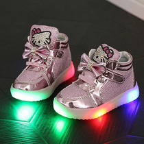 Zapatos Tenis De Luces Led De Colores Para Niña Kitty Rosas