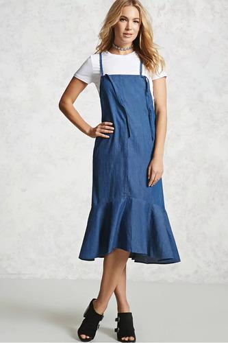 e61d9c17d2 Forever 21 Vestido Overol Tirantes Ajuste Mezclilla Azul Xl