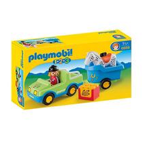 Playmobil 6958 Coche Y Remolque 1.2.3 Granja Ciudad Retromex