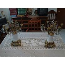 Candelabros Antiguos De Bronce Y Porcelana De Los Años 20