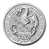 Moneda 2 Oz Plata Pura Coleccion Queen Beasts El Dragon 2017
