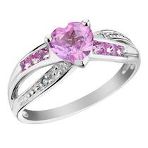 Creado Anillo Corazón Zafiro Rosa Con Diamantes 1.35 Quilat