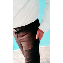 Fino Pantalón Negro Rayas En Gis Talla 33. Corte Recto