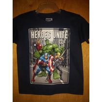 Playera Vengadores Heroes Unite, Niño, Marvel Original