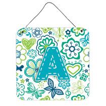 Letra A Flores Y Mariposas Del Trullo Azul De La Pared O Pue
