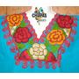 Blusas De Chiapas Bordadas A Máquina / Talla Xl / Turquesa