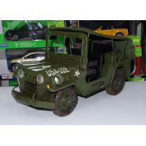1:16 Jeep Militar Con Lona Vehículo De Hierro Hojalata