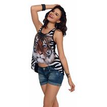 Blusa Playera Mujer Dama Animal Print Estampado Gato Regalo