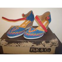 Zapato Marca Folklor Azul Electrico C/rojo No. 4