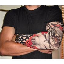Manga Tatuaje Tattoo Falso Calavera Rosa Mayoreo Moda Lycra