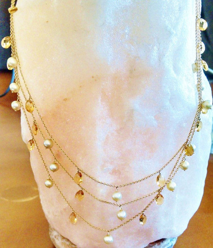 93287a51709f Collar De Perlas Y Citrinas Cadena 48cm Tres Hilos Oro 14k en venta en La  Paz Baja California Sur por sólo   24065