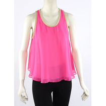 Blusa Rosa Fucsia De Seda, Borde Piel Elizabeth And James