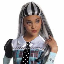 Peluca Disfraz Cosplay Monster High Frankie Bco Negro 60 Cm