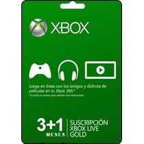 Tarjeta Gift Card Xbox Live Membresia 3+1 Mes Xbox 360 Y One