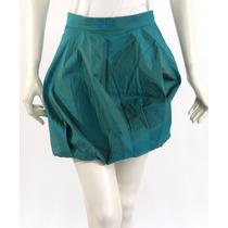 Falda Corta Con Volumen, Verde Tornasol Moschino Cheap & Chi