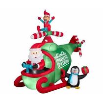 Inflable Navideño Helicóptero Santa Claus Pinguino Y Duende