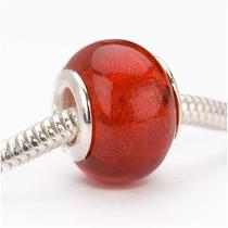Cuenta Cristal Murano Sopl. C/lámina De Plata Orif Gde Rojo