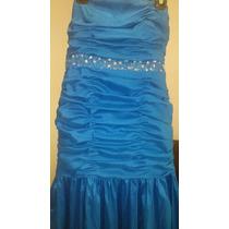 Vestido De Noche Usado Talla L 12 34 36 Marca Rue De La Paix