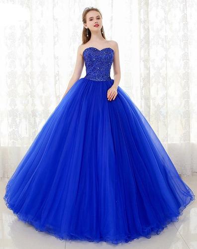 4464f85658 Vestido De Xv Años 15 Azul Rey Lentejuelas en venta en Ciudad ...