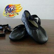 Zapatillas Ballet Negras Media Punta Piel Talla 21.5