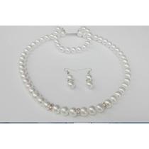 Set Collar Y Aretes Pulsera, Perlas Blancas Rondel Y Cristal